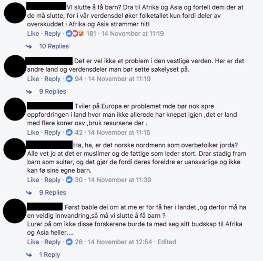 Kommentarfeltet under Nettavisens sak på Facebook.