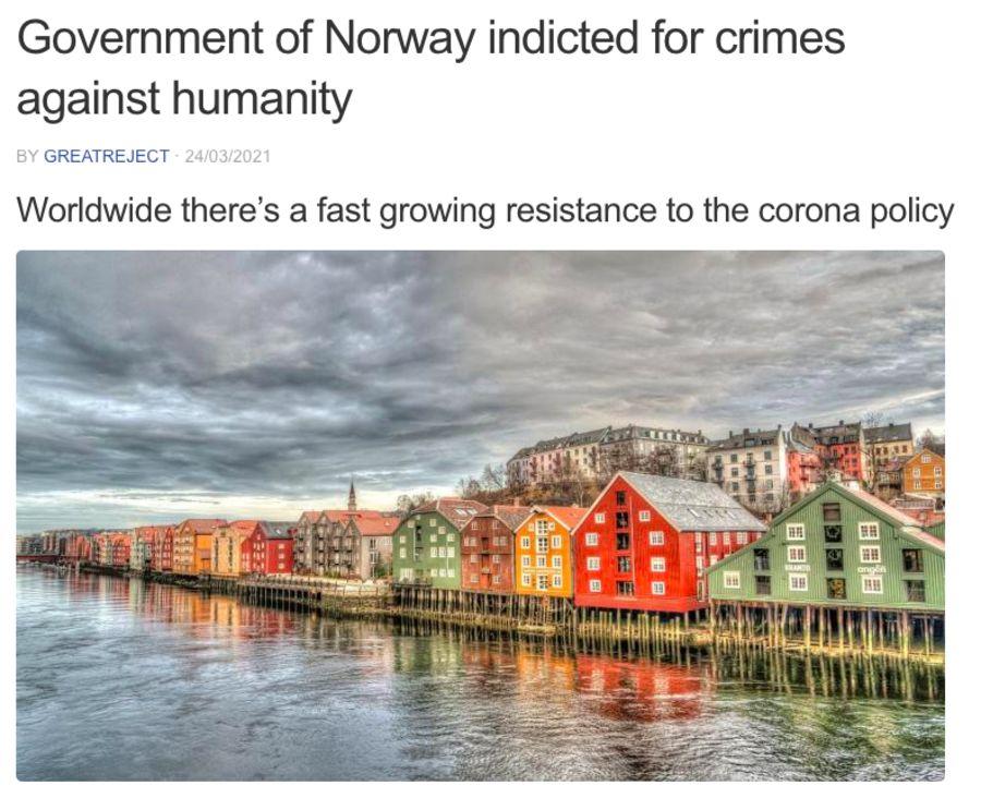Den feilaktige påstanden om at den norske regjeringen har blitt tiltalt for forbrytelser mot menneskeheten, er spredt til mange land.