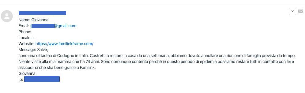 Témoignage reçu par un client italien