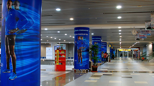 Pillar Wraps Airport Marketing