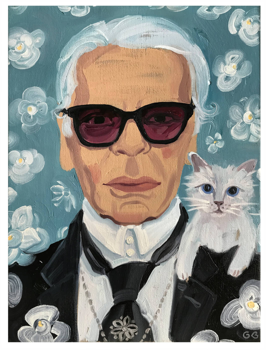 Karl and Choupette (Cover art for Elle UK, May 2019)