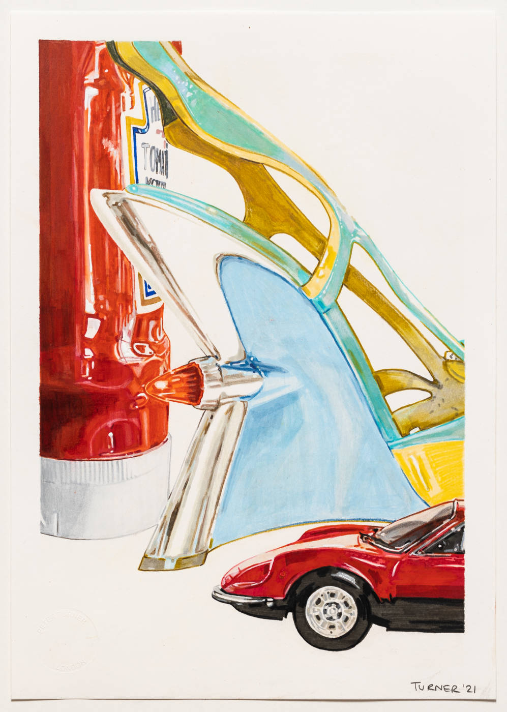 Prada 'Hot Rod' wedge, Heinz Tomato Ketchup bottle, Ferrari Dino 246 GT model car