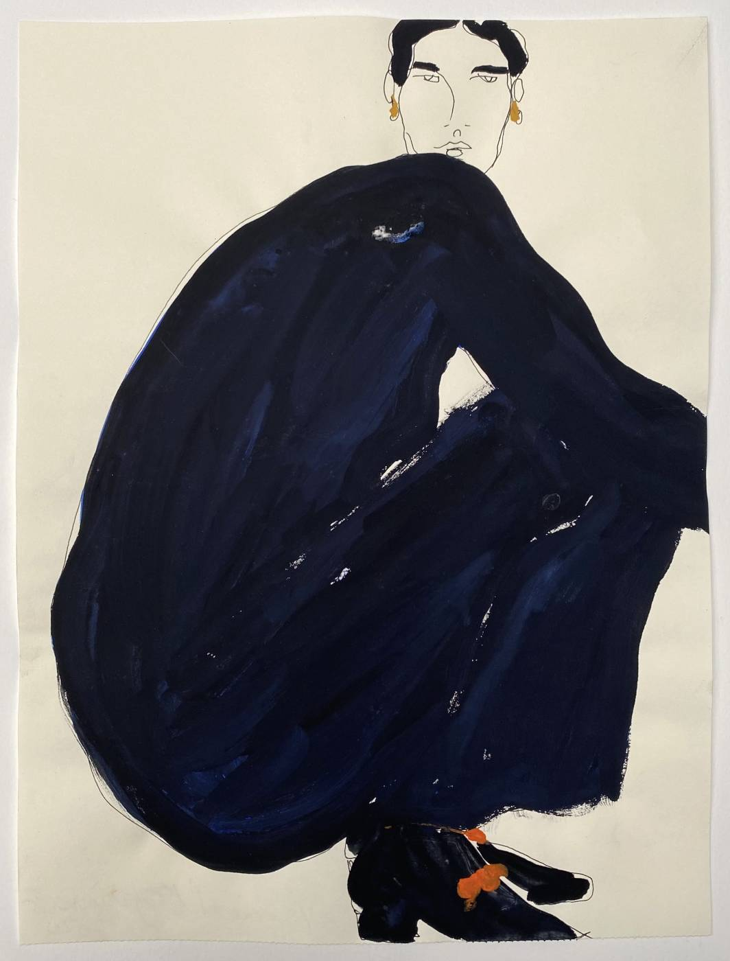Untitled (woman crouching, dark blue dress)