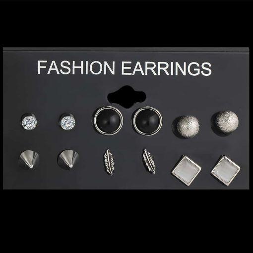 Lovely Set of Silver-Color Stud Earrings