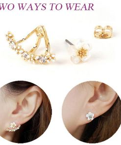 White Crystal Rose Floral Earring