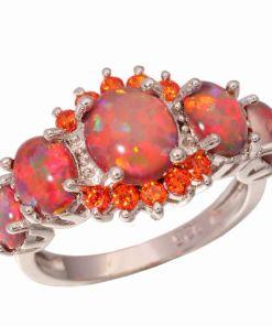 Pretty Orange Opal Garnet Silver