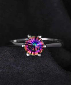 Rainbow Topaz Wedding Ring