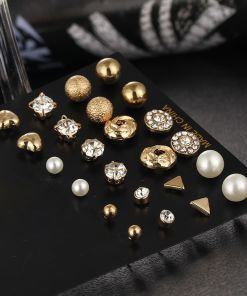 Set of Alloy Variety Gold Color Stud Earring Collection