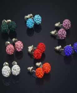 Fine Lady?s Colorful Disco Ball Stud Earring