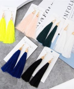 Ancient Long Colorful Tassel Stud Earring