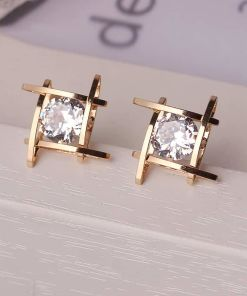 Lady?s Square Crystal Stud Earring