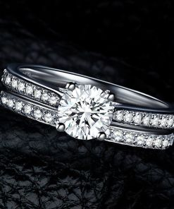 Crystal Engagement Couple Rings