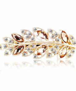 Crystal Leaf Rhinestone Hairpin