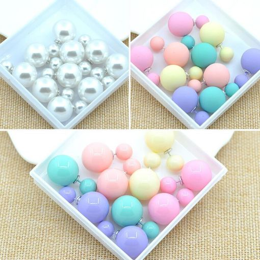 Set of Cute Double Pearly Ball Earrings