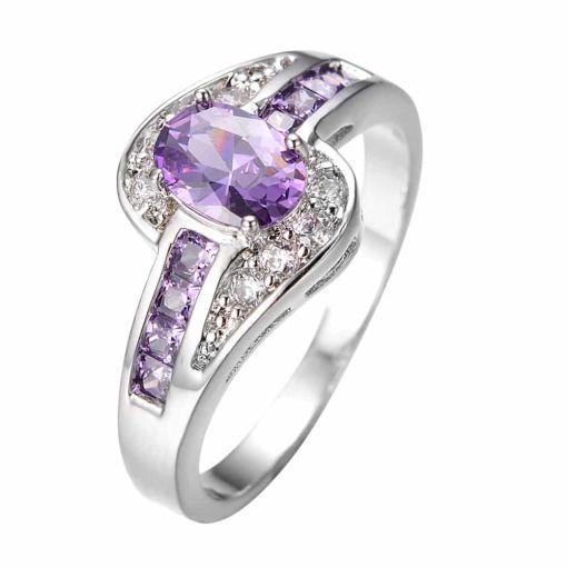 Sweet Purple Oval Vintage Ring