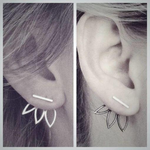 Sparkling Bar Hollow Leaf Stud Earring