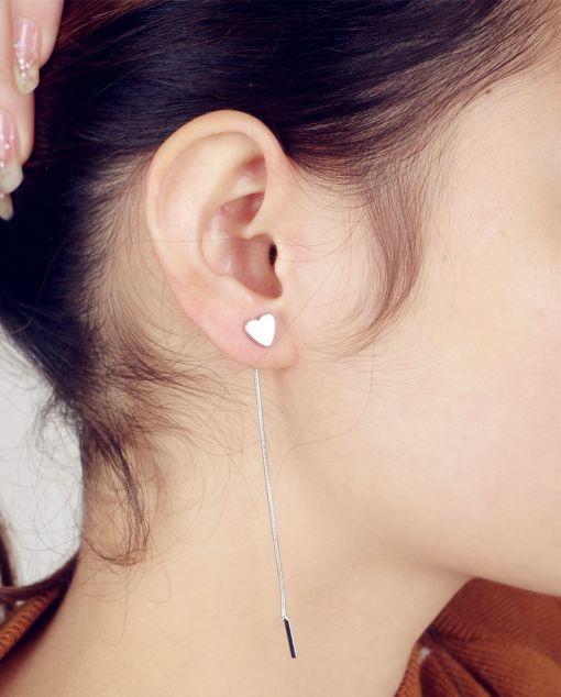 Long Drop-Down Triangular Stud Earring