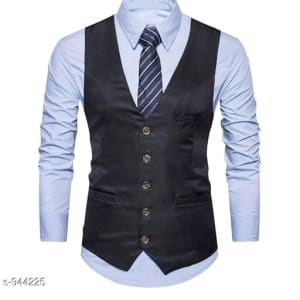 Men's Partywear Solid Polyester Waistcoats Vol 1 (1)