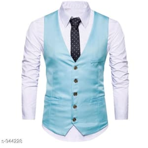 Men's Partywear Solid Polyester Waistcoats Vol 1 (5)