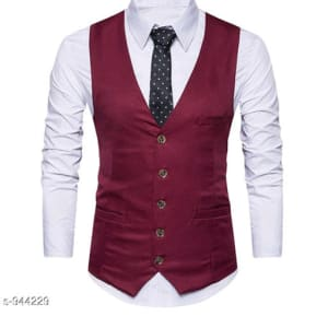 Men's Partywear Solid Polyester Waistcoats Vol 1 (4)