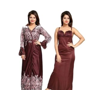 Ladies Satin Solid Nighty
