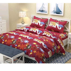 Smart Buy Colorful Beautiful 3D Printed Double Bedsheets Vol 1 (10)
