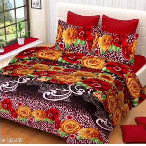 Trendy Cotton Printed 3D Double Bedsheets Vol 9 (6)