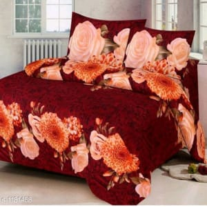 Trendy Cotton Printed 3D Double Bedsheets Vol 9 (5)