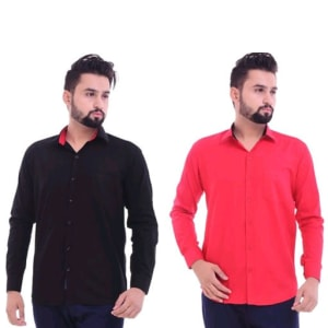 Men's Trendy Cotton Solid Shirts Combo (5)