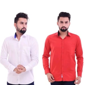 Men's Trendy Cotton Solid Shirts Combo (4)