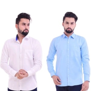 Men's Trendy Cotton Solid Shirts Combo (3)