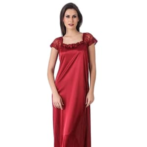 Women's Trendy Satin Lace Work Nighties