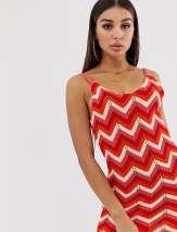 Boohoo festival crochet cami dress in red chevron - Multi