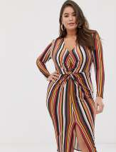 Missguided Plus exclusive plus slinky twist front midi dress in multi stripe - Multi