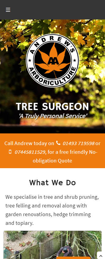 Representation of Andrews Arboriculture website on a mobile phone.