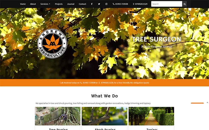 Frontpage view of Andrews Arboriculture website.