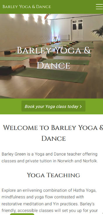 Representation of Barley Yoga & Dance website on a mobile phone.