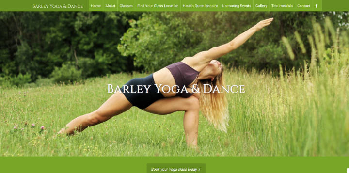 Frontpage view of Barley Yoga & Dance website.