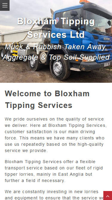Representation of Bloxham Tipping Services website on a mobile phone.