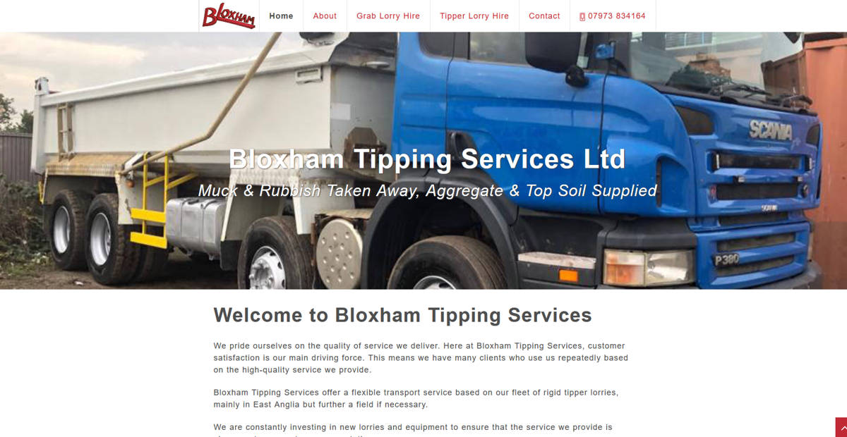 Frontpage view of Bloxham Tipping Services website.