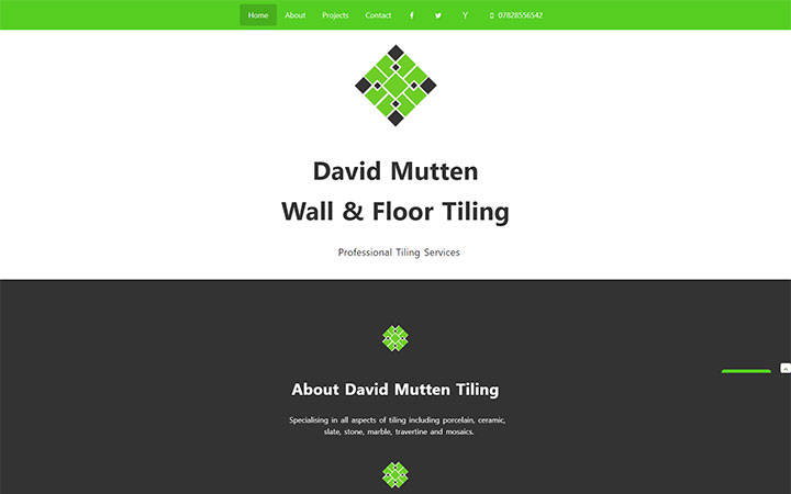 Frontpage view of David Mutten Tiling website.