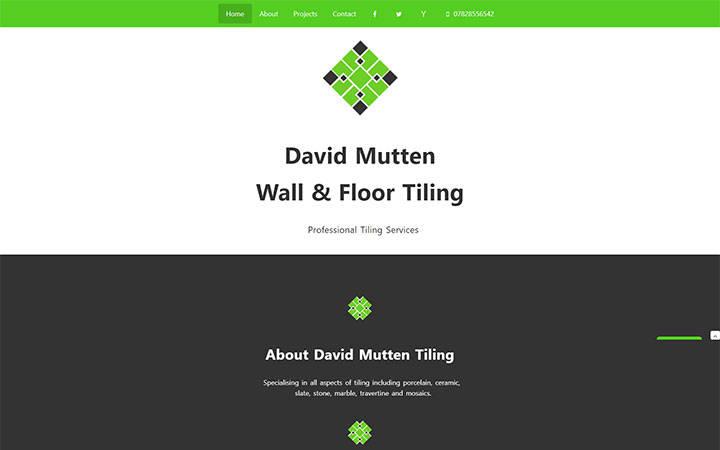 Representation of David Mutten Tiling website on a desktop computer.