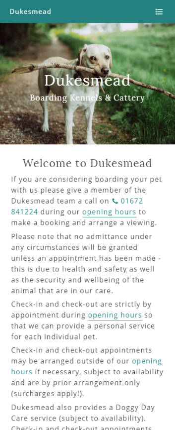 Representation of Dukesmead Boarding Kennels & Cattery website on a mobile phone.