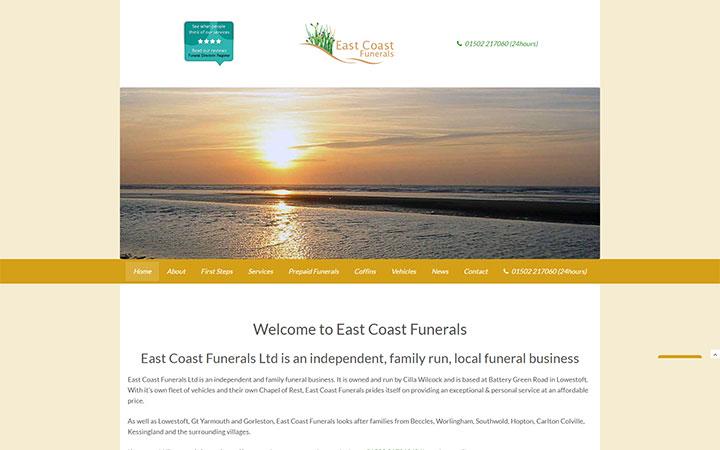Representation of East Coast Funerals website on a desktop computer.