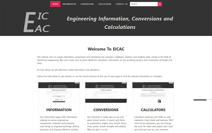 Frontpage view of EICAC website.