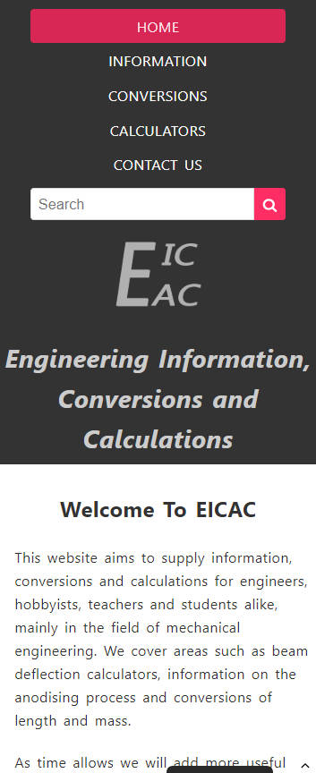 Representation of EICAC website on a mobile phone.