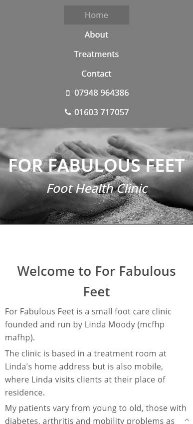 Representation of For Fabulous Feet website on a mobile phone.