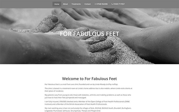 Frontpage view of For Fabulous Feet website.