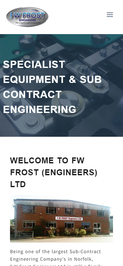 Representation of FW Frost (Engineers) Ltd website on a mobile phone.