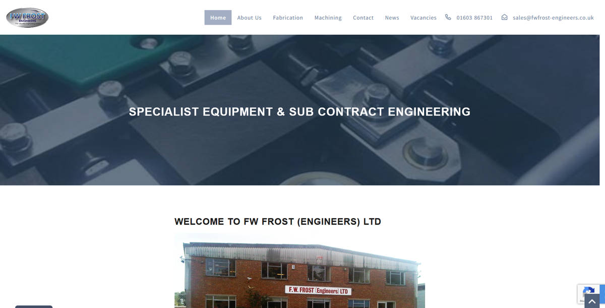 Frontpage view of FW Frost (Engineers) Ltd website.